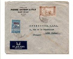 SYRIE AFFRANCHIOSSEMENT COMPOSE SUR LETTRE A EN TETE DE ALEP POUR LA FRANCE 1947 - Syrie