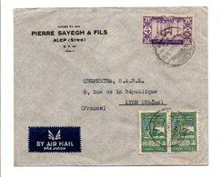 SYRIE AFFRANCHIOSSEMENT COMPOSE SUR LETTRE A EN TETE DE ALEP POUR LA FRANCE 1948 - Syria