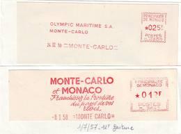 S247. LOT 2 EMA PRINCIPAUTÉ MONACO MONTE CARLO SUR FRAGMENT - ANNÉES 1958 ET 1959 - Marcophilie - EMA (Empreintes Machines)