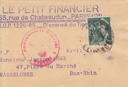Bande Journal Affr Y&T 411 Obl PARIS Du 30.9.41 Adressée à Wasselonne Avec Censure - Marcophilie (Lettres)
