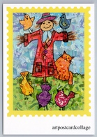 CATS BIRDS And SCARECROW Unusal POP ART Collage Russian NEW Postcard - Non Classificati