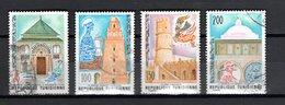 TUNISIE  N° 839 à 842    OBLITERES   COTE  1.50€     MONUMENT  MOSQUEE - Tunisie (1956-...)