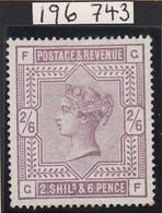 GRAN BRETAGNA 1883  SG 179 2/6d   LILAC  A SUPERB MM EXAMPLE ROYAL CERTIFICATE - 1840-1901 (Viktoria)