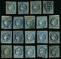 FRANCE - YT 46B - EMISSION DE BORDEAUX CERES - LOT DE 19 TIMBRES OBLITERES - 1870 Bordeaux Printing