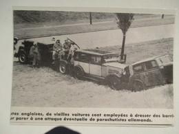 Routes Anglaises - Barricade Contre Attaque Préventive Anti Parachtistes Allemands - Coupure De Presse De 1942 - Documents Historiques