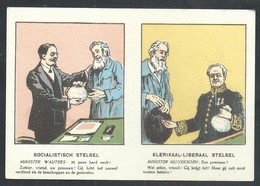 +++ CPA - Politique - Election - SOCIALISTISCH STELSEL - Minister Wauters - KLERIKAAL LIBERAAL Stelsel - MOYERSOEN // - Partis Politiques & élections
