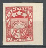 Latvia 1923  10 Sant. Mint Stamp No Gum Imperf. - Lettonia
