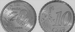 MONNAIE  ESPAGNE 10 Cent  1999 Madrid Euro Fautée/error Non Cuivrée - Espagne