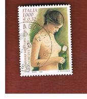 ITALIA REPUBBLICA  -  2000 CONTRO LE  MALATTE DEL SENO - USATO ° - 6. 1946-.. Repubblica