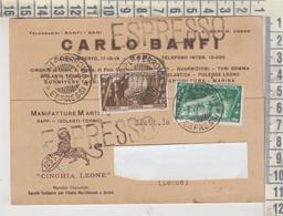 BARI STORIA POSTALE 1934 BARI CARLO BANFI MANIFATTURE ARTI AMB. FOGGIA LECCE GALATONE ESPRESSO - Storia Postale