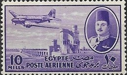 EGYPT 1947 King Farouk, Delta Barrage And Douglas Dakota Transport - 10m - Violet MNH - Poste Aérienne