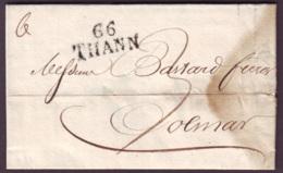 HAUT RHIN - LAC - 66 THANN (29x12) (1825) + Taxe 3 Pour Colmar (66) - Marcophilie (Lettres)
