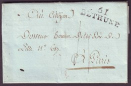 PAS DE CALAIS - LAC - 61 BETHUNE (37x11) (1803) + Taxe 4 Pour Paris (60) - Marcophilie (Lettres)