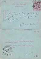 DDW766 - Entier Carte-Lettre Type TP 46 MORIALME 1887 Vers AUVELAIS - Origine Manuscrite Chateau D' ORET - Cartas-Letras
