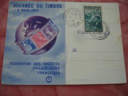 1939 Sur Timbre 65 C Plus 60 C  Comite Oeuvres Sociales Faveur Des Etudiants Journee Du Timbre - Marcophilie (Lettres)