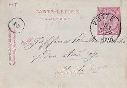 DDW771 - Entier Carte-Lettre Type TP 46 PUTTE 1892 Vers MALINES - Origine  Manuscrite SCHRIEK - Cartas-Letras