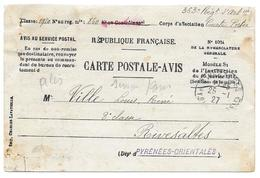 RIVESALTES 1927 VILLE LOUIS 363 RA ARTILLERIE COURTE PORTEE - CARTE POSTALE AVIS MILITAIRE RECRUTEMENT PERPIGNAN - Militaria