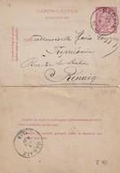 DDW772 - Entier Carte-Lettre Type TP 46 RENAIX 1889 En Locale - Origine  Manuscrite OSTICHES - Cartas-Letras