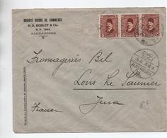 EGYPTE / EGYPT - 1928 - ENVELOPPE COMMERCIALE D'ALEXANDRIE Pour LONS LE SAUNIER (JURA) - Égypte
