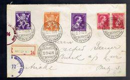 679 + 682A + 693 + KP 22 / Lsc  Recommandée  De Aalst 22 9 46 (voir Cachets ) => Autriche + 2 Censures Anglaises - 1869-1883 Léopold II