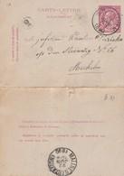 DDW778 - Entier Carte-Lettre Type TP 46 WOLVERTHEM 1890 Vers MECHELEN - Cartas-Letras