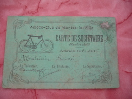 Velo Cyclisme Cycle  Velo Club Mantes La Ville Carte De Societaire Annee 14 - Publicités