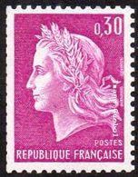France Marianne De Cheffer N° 1536 A ** Roulette - La République Le 0f30 Lilas Gravé, Variété Gomme Tropicale - 1967-70 Marianne De Cheffer