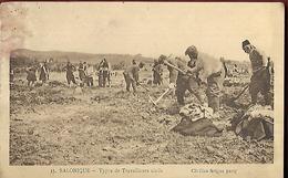 Salonique  Types De Travailleurs Civils  CPA 1918 - Grèce
