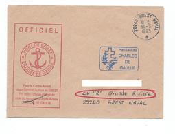 17516 - PORTE-AVIONS CHARLES DE GAULLE - LETTRE OFFICIELLE Du PA CDG  Avec Cachet Manuel De BREST NAVAL 1995  (RR) - Poste Navale