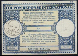 MALTE / MALTA Lo17 1s. Int. Reply Coupon Reponse Antwortschein IRC IAS Issued PAULA 6.9.62 (variant C Above P ) - Malta