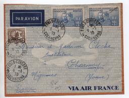 INDOCHINE - 1939 - ENVELOPPE PAR AVION De PAULO CONDORE (COCHINCHINE) Pour CHARMOY (YONNE) - PIERRE ET MARIE CURIE - Indocina (1889-1945)