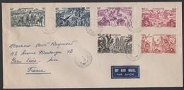Enveloppe Avec Série Complète 6 Valeur Du Tchad Au Rhin De GUADELOUPE Oblt Type A2 POINTE A PITRE 1949. - Guadeloupe (1884-1947)