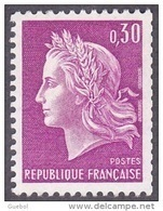 France Roulette N° 1536 A ** Marianne De Cheffer - La République Le 0fr30 Lilas Gravé, Variété Gomme Tropicale - Rollen