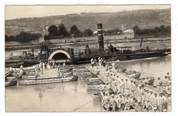 MILITARIA - Carte Photo, Construction D'un Pont De Bateaux, Peut-être Vers Condrieux, Remorqueur Pelvoux - Manoeuvres