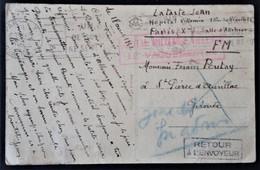 CP Franchise Militaire Cachet Rectangulaire HÔPITAL MILITAIRE VILLEMIN Avr 1942 Prisonnier De Guerre Rapatrié Sanitaire - Marcophilie (Lettres)