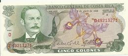 COSTA RICA 5 COLONES 1983 AUNC P 236 D - Costa Rica