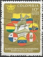 1961 10c Games, Flags, Used - Colombia