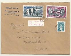 POSTE AERIENNE N° 47  + COMPLEMENT AFFRANCHISSEMENT  SUR  LETTRE RECOMMANDEE POUR LA SUISSE. - 1960-.... Lettres & Documents
