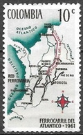 1962 10c Railroad Map, Used - Colombia