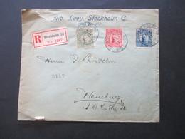 Schweden 1911 / 1913 König Gustaf V. MiF / Dreifarbenfrankatur Einschreiben Alb. Levy Stockholm 16 - Hamburg Mit Handsch - Schweden