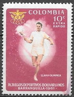 1961 10c Games, Torch Bearer, Used - Colombia