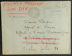 Env Franchise Militaire Agent De Liaison Près L'Armée Britannique Cachets Field Post Office 16 Et Field Post Office 27 - Marcophilie (Lettres)