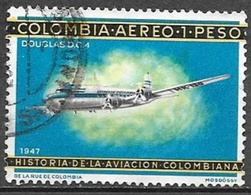 1966 60c Aviation, Biplane, Used - Colombia