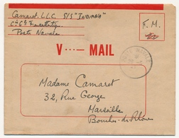 """Formule V.MAIL Utilisée Depuis Le S/S """"Indiana"""" Par Poste Navale - 28/5/1945 - Marcophilie (Lettres)"""