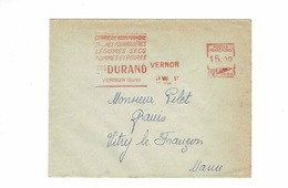 EMA Rouge 15.00 Vernon (Eure) En 57,lettre Cidre De Normandie Ets Durand à Vernon - Marcophilie (Lettres)