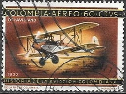 1965 60c Aviation, Biplane, Used - Colombia