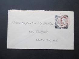 GB 1893 Ganzsachen Umschlag Bedruckt Nach Cheapside London Von Thomas Crew & Son Macclesfield - Briefe U. Dokumente