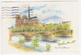 {59938} 75 Paris Notre Dame Abside ; La Seine , Bateau Mouche , Pont - Notre Dame De Paris