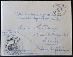 """Env Franchise Militaire De HASNON Nord Mention """"Remise Au Facteur Pour être Déposée Au Guichet"""" + Cachet Mairie Avr 1940 - Marcophilie (Lettres)"""