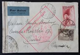 Enveloppe De LUXEMBOURG GARE Vers TUNIS Décembre 1939 Grand Cachet Rectangulaire FAIRE ACHEMINER CONTROLE POSTAL - Marcophilie (Lettres)